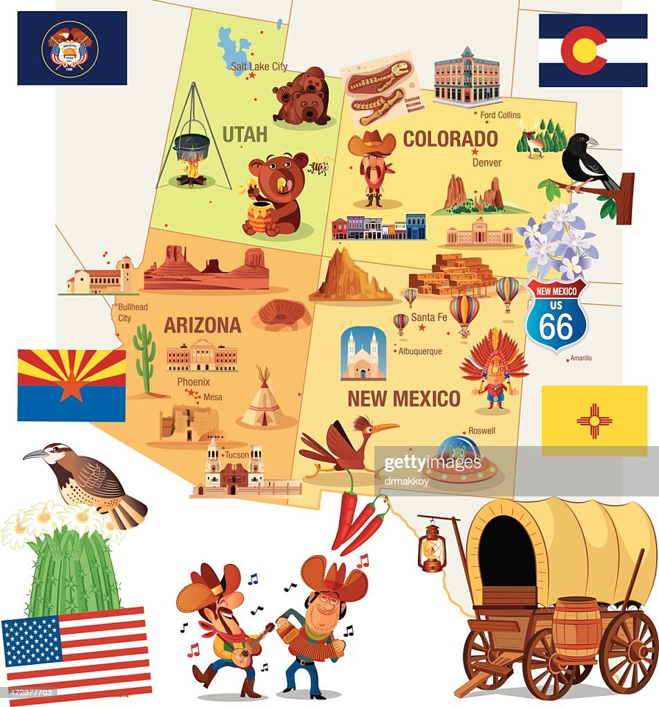 Cartoon Map Of New Mexico Vector Art Getty Images