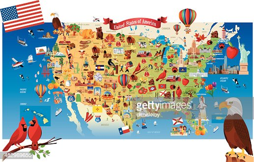 Cartoon Map Of Usa Vector Art Getty Images - Mapofusa