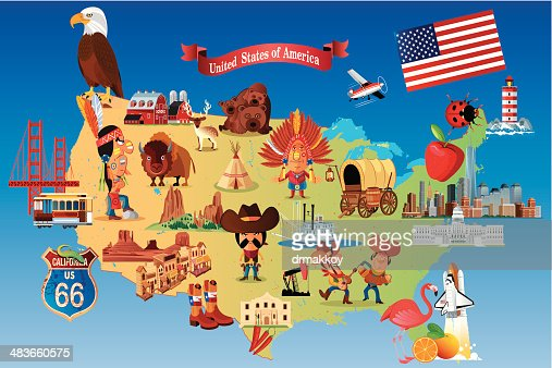 Cartoon Map Of Usa Vector Art Getty Images - Map of us cartoon
