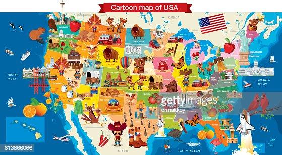 Cartoon Map Of Usa Vector Art Getty Images - Usa map cartoon