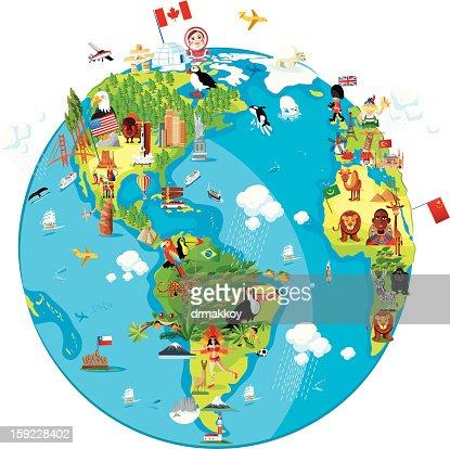Cartoon map of World (America) : Vector Art