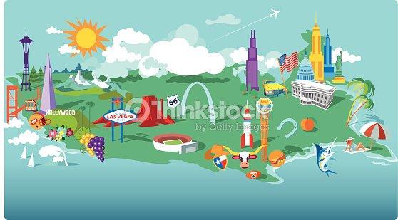 Usa Cartoon Map Vector Art Thinkstock - Cartoon us map