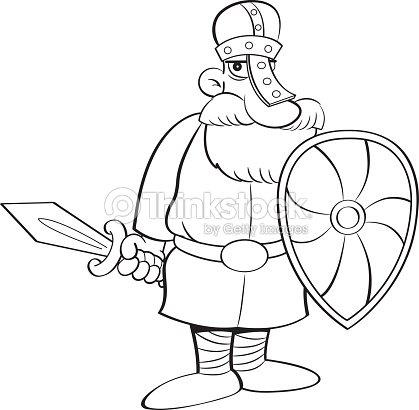 Caballero Medieval De Dibujos Animados Sosteniendo Un Escudo Y Una ...