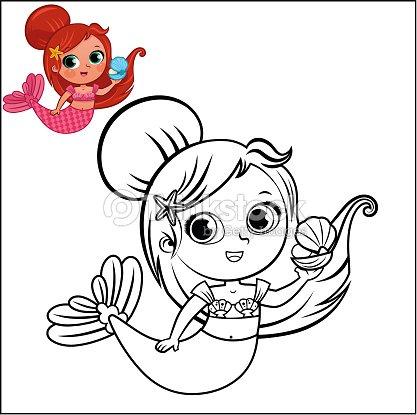 Meerjungfrau Comicfigur Für Färbung Seite Aktivität Vektorgrafik ...