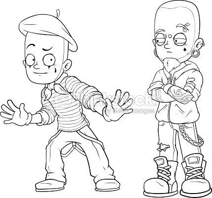 Punk De Mime De Dibujos Animados Con Piercing Conjunto De Vectores ...