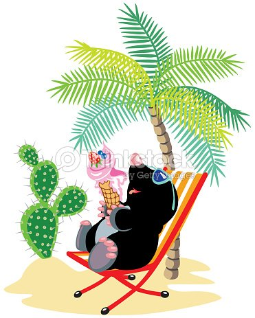 cartoon mole relaxing on the beach vector art thinkstock. Black Bedroom Furniture Sets. Home Design Ideas