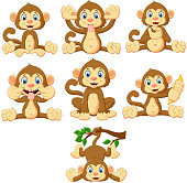 Vector illustration of Cartoon monkeys collection set