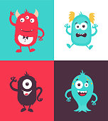 Cartoon Monsters collection. Vector set of cartoon monsters isolated. Design for print, party decoration, t-shirt, illustration, symbol, emblem or sticker