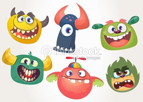 Dibujos Animados Monstruos Para Halloween Conjunto De Vectores De ...