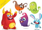 Cartoon Monsters. Vector set of cartoon monsters isolated