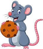 Vector illustration of Cartoon mouse holding a cookie