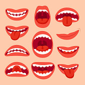 Cartoon mouth elements collection. Show tongue, smile with teeth, expressive emotions, smiling, shouting mouths and phonemes vector set isolated