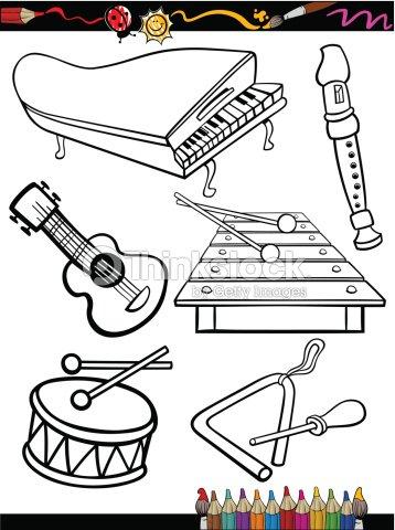 Página Para Colorear De Historieta Instrumentos De Música Arte ...