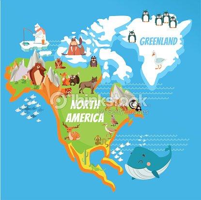 cartoon north america continent map vector art thinkstock