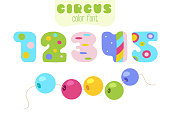 Funny cartoon style colorful vector numbers 1, 2, 3, 4, 5 set with sling wire beads