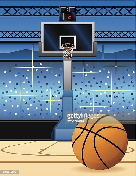 Cartoon of a basketball in front of the hoop