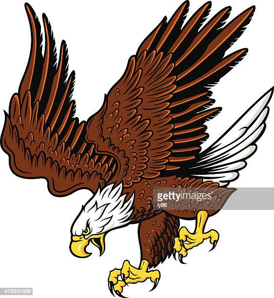 Cartoon of a brown and white eagle zooming in for attack