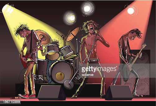 Cartoon of a rock band on stage : Vector Art