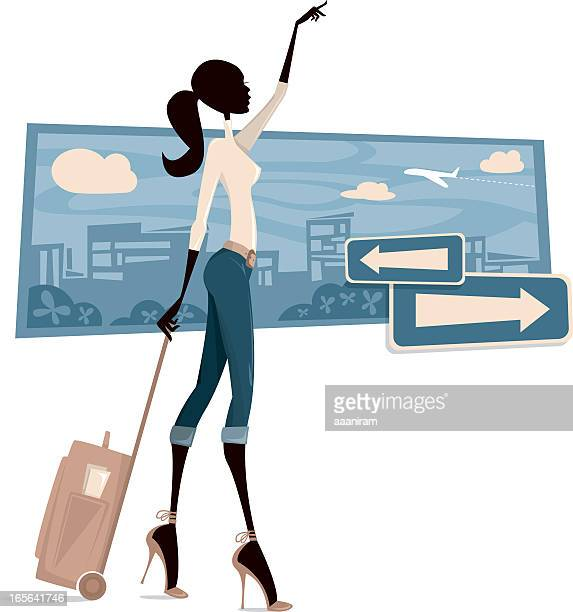 Cartoon of a woman asking for a taxi