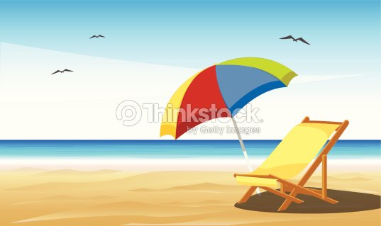 Cartoon of beach chair and umbrella on sand vector art thinkstock cartoon of beach chair and umbrella on sand vector art voltagebd Gallery