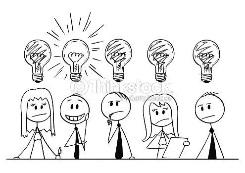 Dibujos De Grupo De Personas De Negocios Pensando En Problema Arte