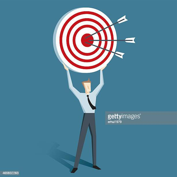 Cartoon of man holding up a target with arrows on it