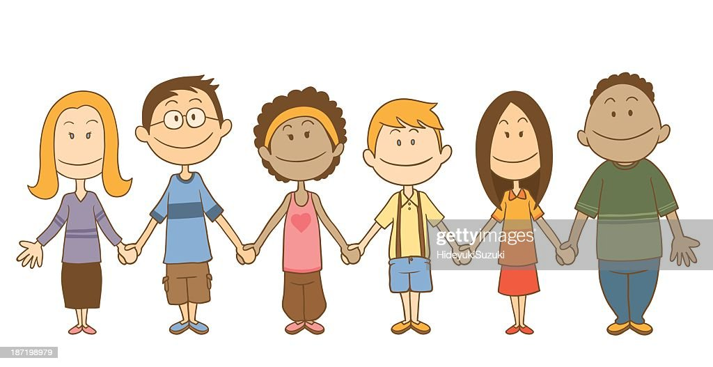 cartoon of multiethnic group of children holding hands vector art rh thinkstockphotos com People Holding Hands Border Stick People Holding Hands