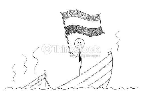 Caricatura De Político Permanente Deprimido En Hundimiento De Barco