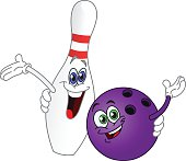 Cartoon Of Purple Bowling Ball And Pin Waving And Smiling Vector Art