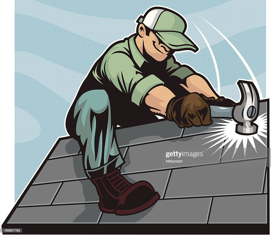 Illustration Of Roofers At Work Stock Photo, Picture And Royalty ...