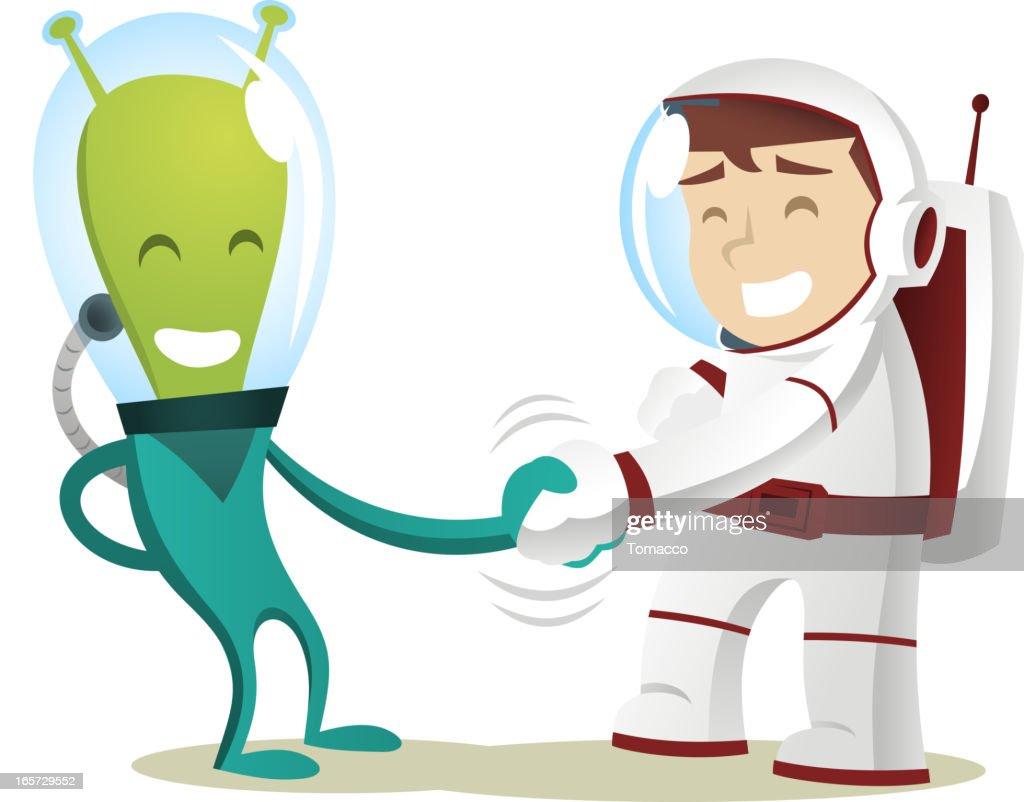 cartoon of smiling alien and astronaut shaking hands vector art