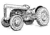 Old vintage tractor vector pen and ink illustration. Tractor was made in Dearborn, Michigan, United States or USA from 1939 to 1942 or 30's to 40's.