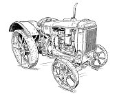 Old vintage tractor vector pen and ink illustration. Tractor was made in Chicago, Illinois, United States or USA from 1938 to 1939 or 30's.