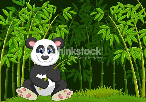 Comic Panda Im Dschungel Bambus Vektorgrafik Thinkstock