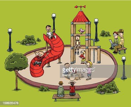 カットイラスト、公園の遊び場 : ベクトルアート