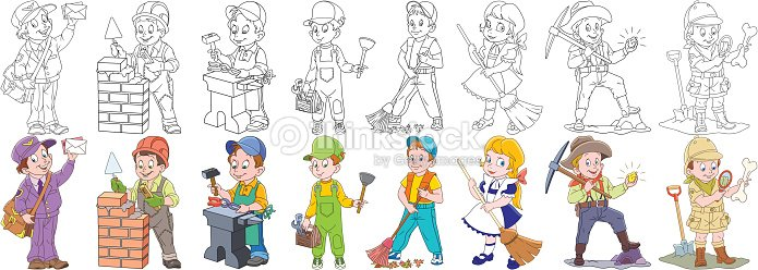 Cartoon people professions set