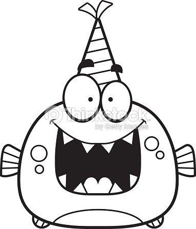 Piraña De Dibujos Animados Fiesta De Cumpleaños Arte vectorial ...