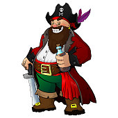 Cartoon pirate with rum and saber in hand on white isolated background. Eps 10