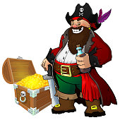 Cartoon pirate with rum and treasure on white isolated background