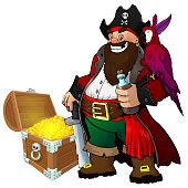 Cartoon pirate with rum, parrot and treasure on white isolated background