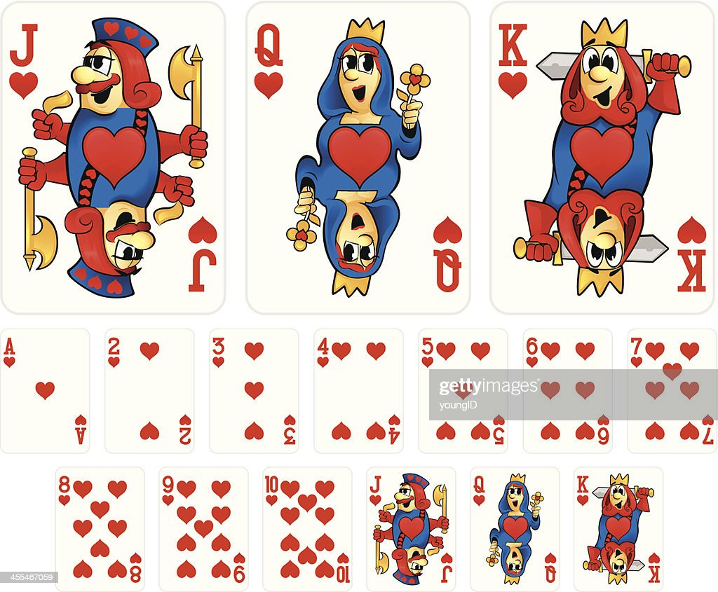 Cartoon Playing Cards - Hearts Suit : Vector Art