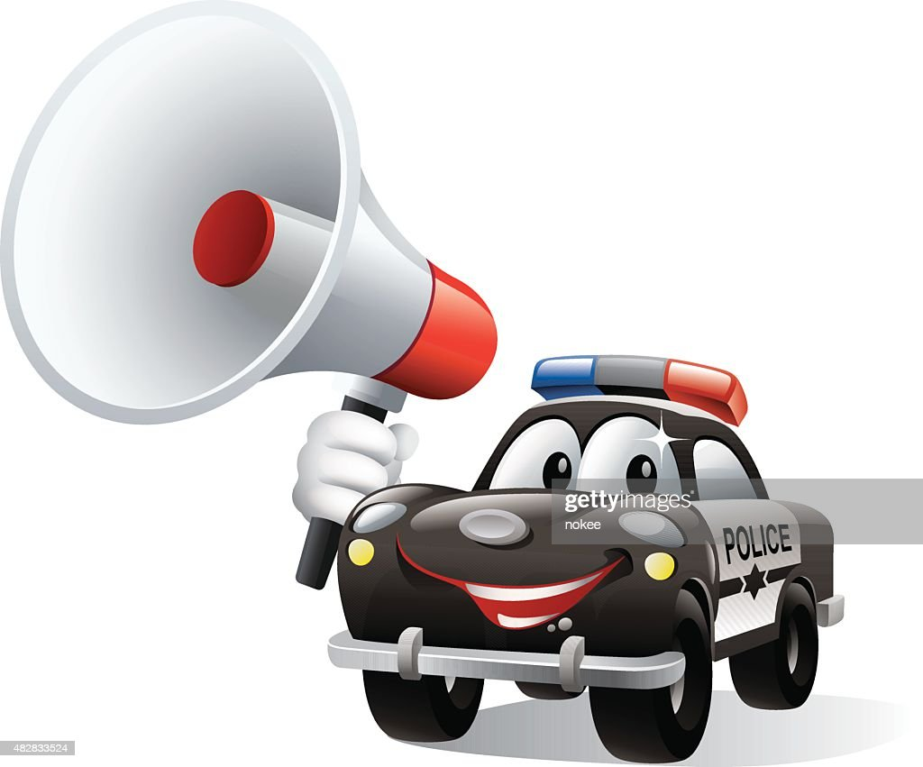 cartoon police car holding megaphone vector art getty images