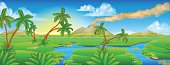 A cartoon prehistoric background Jurassic scene landscape
