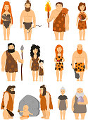 Cartoon primitive people character set vector protoman neanderthal caveman male evolution illustration. Ancient prehistoric cave man barbarian, human. Primeval family man and woman with baby kid