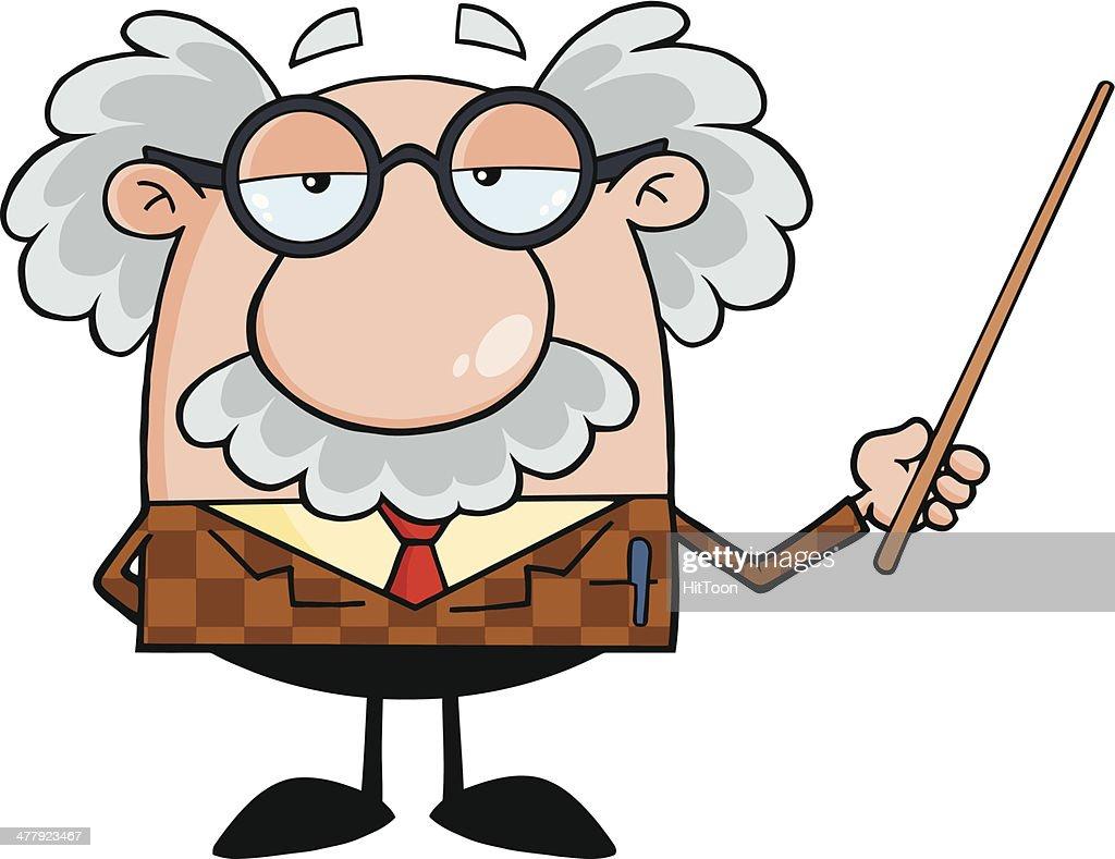 Cartoon professor holding a pointer vector art getty images
