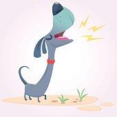 Cartoon Purebred Dachshund. Vector illustration