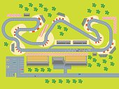 Cartoon Race Track with Cars and Landscape Top View Auto Competition Topography Concept Flat Design Style. Vector illustration of Racetrack