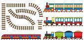 Cartoon railway and train. Set of cartoon trains. Vector illustration.