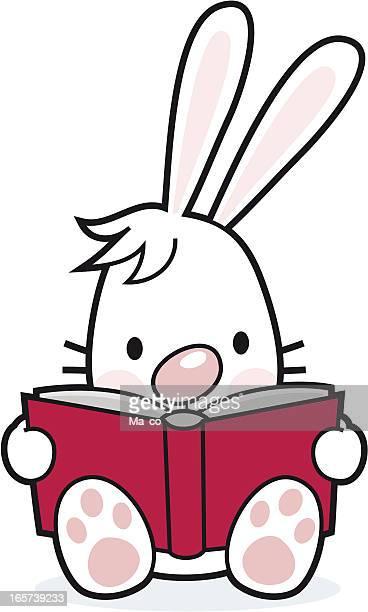 cartoon / reading rabbit with book