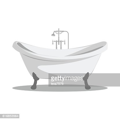 Cartoon retro bathtub icon. : Vector Art